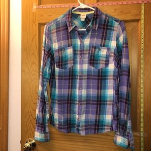 Light purple and blue plaid button down top